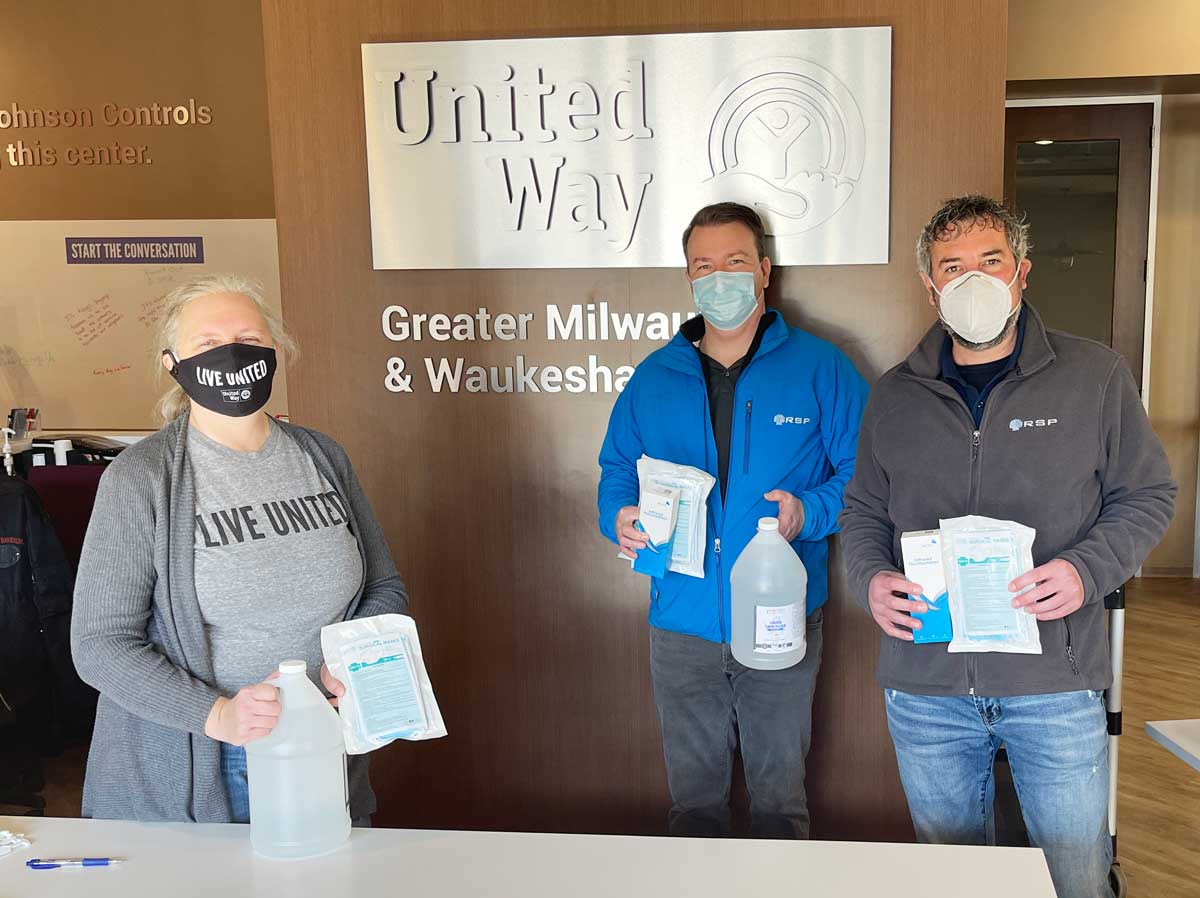 RSP team inside the Greater Milwaukee United Way with PPE Donation